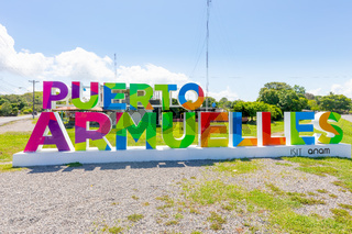 Panama port Armuelles, welcome sign