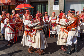Local people with traditional clothes performing Croatian music and dance in Zagreb, Croatia