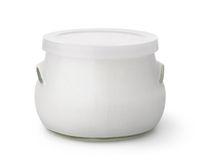 Glass of homemade organic yogurt