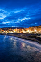 City of Nice at Blue Hour Evening in France