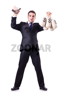 Man with gun and sacks of money