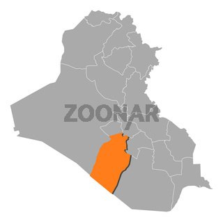 Map of Iraq, Najaf highlighted