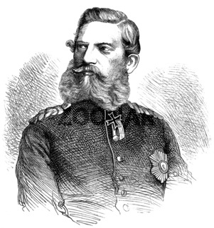 Historical drawing from the 19th century, portrait of Friedrich