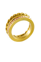 Knotted sparkly twin golden ring with zircons isolated on white background
