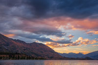 Beautiful evening sky at Lake Wanaka