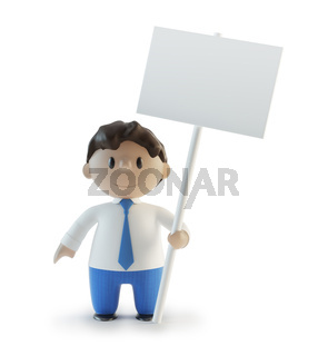 3D cartoon character holding a sign