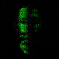 Man portrait, matrix concept illustration