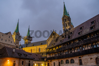 Bamberg Cathedral in the early evening with Alte Hofhaltung in the foreground, World Heritage city