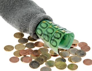 Sparstrumpf mit Euro Geld Scheinen und Euros