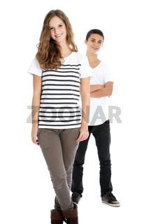 Two smiling trendy young teenagers
