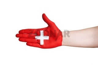a hand with swiss symbol