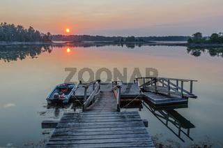 Bootssteg im Sonnenuntergang, Orr's Island, Maine,  Neuengland, USA, Nordamerika