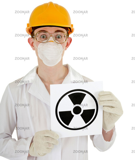 Scientist - a chemist with the sign of radiation