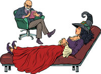Halloween witch at a psychotherapy session, a psychologist doctor listens to a fairytale character. Isolate on a white background