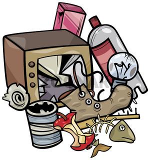 rubbish objects clip art cartoon illustration