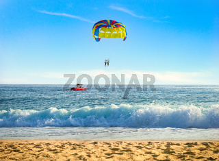 Parasailing over sea