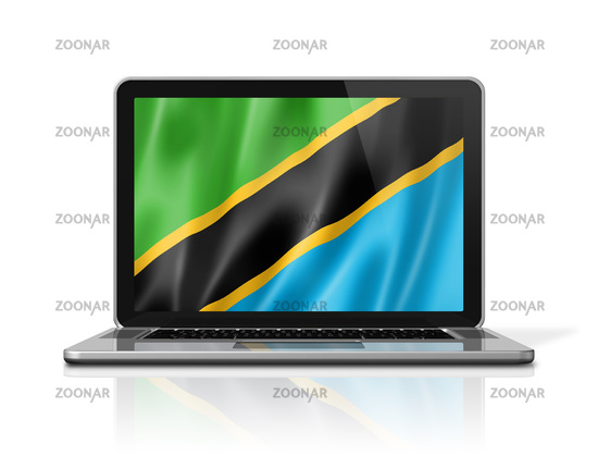 Tanzania flag on laptop screen isolated on white. 3D illustration