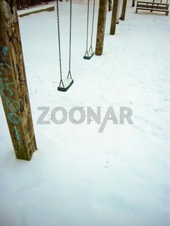 Schaukel, Spielplatz, Winter