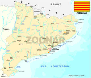 vector map of spanish region of Catalonia with flag.eps