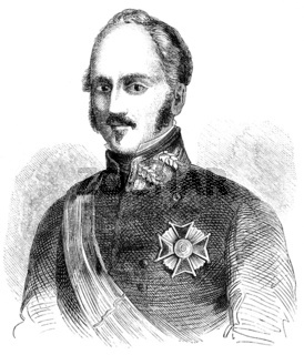 Historical drawing from the 19th century, portrait of Joaquin Ba