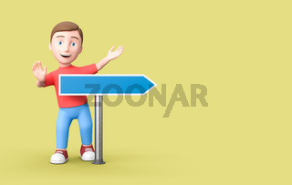 Kid 3D Cartoon Character with Blank Directional Arrow on Yellow with Copy Space