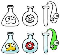Virus Laboratory Flasks Cartoon