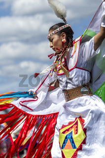 Sideview of beautiful Native American woman.