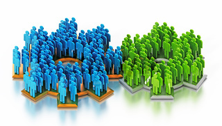 Blue and green figures standing on connected gears. 3D illustration