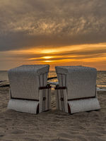 Beach chairs on the beach in Ahrenshoop, Mecklenburg-Western Pomerania, Germany