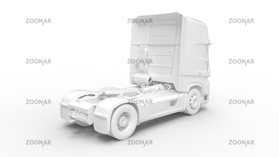 3D rendering of a truck lorry computer model without trailer isolated in white background.