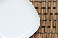 Empty plate on the bamboo napkin