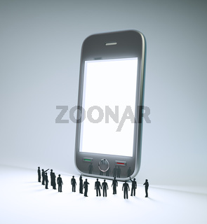 group of tiny people looking at a smartphone screen