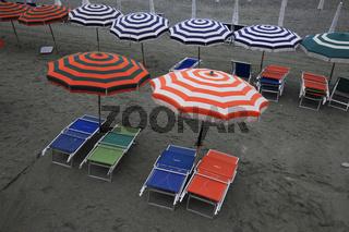 Saisonende am Strand von Monterosso, Cinque Terre, Ligurien, Italien