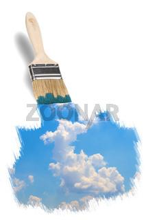brush painting a wonderful blue sky