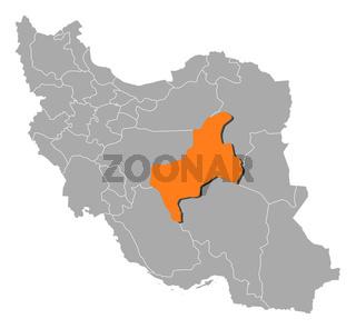 Map of Iran, Yazd highlighted