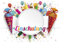 Einschulung Emblem Balloons Letters Candycones Pencils