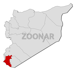 Map of Syria, Daraa highlighted