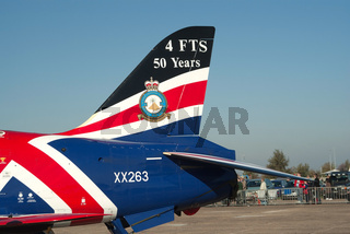 Closeup of the tail of BAe Hawk jet