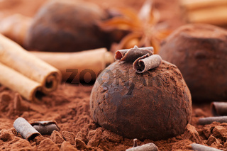 Sweet chocolate truffle with cinnamon stick as closeup on cocoa powder background