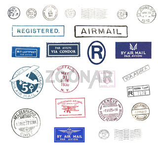 Vintage airmail stamps