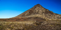 Panorama inside crater of Pico volcano and Piquinho pinnacle, Azores, Portugal