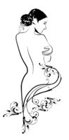 freehand sketch of beautiful girl with floral arabesque in art nouveau style