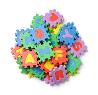 Top view of colorful foam alphabet puzzle