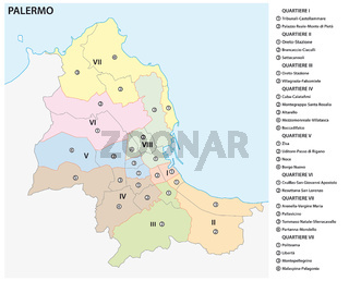 Administrative and political vector map of the Sicilian capital Palermo, Italy