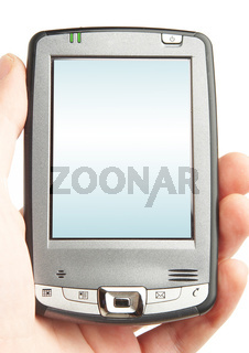 Pocket computer in a hand.