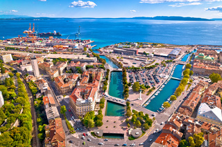 City of Rijeka aerial view of Rjecina river Delta