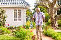 African american senior man watering plants in backyard