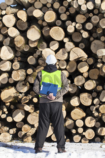 Forester with folder an opposite logs off the pil