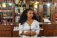 beautiful barmaid woman with traditional hairstyle, Mekelle, Tigray Ethiopia