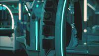 futuristic sci fi MRI Scanner medical equipments in hospital